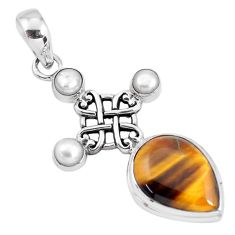 925 sterling silver 14.12cts natural brown tiger's eye pearl pendant p56867