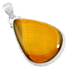 925 sterling silver 30.49cts natural brown tiger's eye pendant jewelry d31065