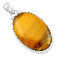 925 sterling silver 32.12cts natural brown tiger's eye pendant jewelry d31073