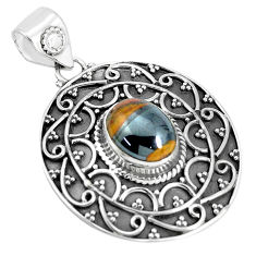 925 sterling silver 4.52cts natural brown tiger's hawks eye oval pendant p33564