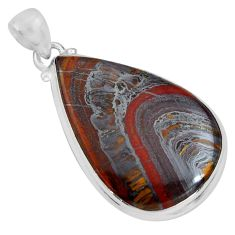 925 sterling silver 25.93cts natural brown tiger's hawks eye pear pendant p89247