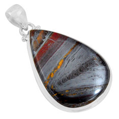 925 sterling silver 32.14cts natural brown tiger's hawks eye pear pendant p89254