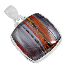 925 sterling silver 26.54cts natural brown tiger's hawks eye pendant p90364