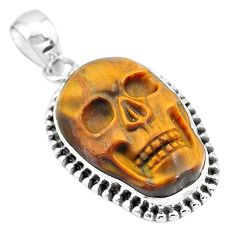 925 sterling silver 16.43cts natural carving tiger's eye skull pendant p77336
