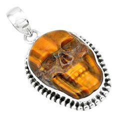 925 sterling silver 15.44cts natural carving tiger's eye skull pendant p77339
