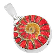 925 sterling silver 19.72cts natural coral in ammonite pendant jewelry p69427