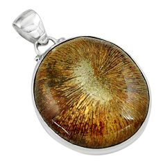 925 sterling silver 22.59cts natural cyclolite coral fossil oval pendant p79615