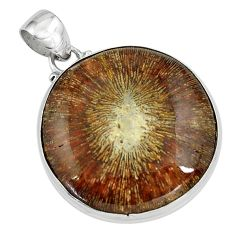 925 sterling silver 28.30cts natural cyclolite coral fossil pendant p79608