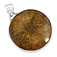925 sterling silver 29.93cts natural cyclolite coral fossil round pendant p79584