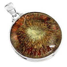 925 sterling silver 29.34cts natural cyclolite coral fossil round pendant p79590