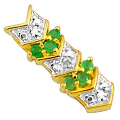 925 sterling silver 1.41cts natural diamond green emerald 14k gold pendant c4469