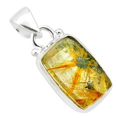 925 sterling silver 8.06cts natural golden half star rutile pendant p75984