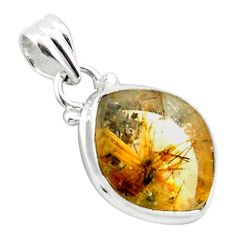 925 sterling silver 12.07cts natural golden half star rutile pendant p75987
