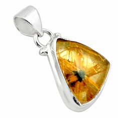 925 sterling silver 13.55cts natural golden half star rutile pendant p75996
