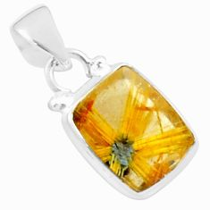925 sterling silver 5.23cts natural golden half star rutile pendant p76024