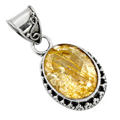 925 sterling silver 10.70cts natural golden rutile oval pendant jewelry p90330
