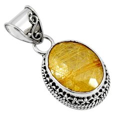 925 sterling silver 10.37cts natural golden rutile oval pendant jewelry p90334
