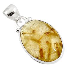 925 sterling silver 15.05cts natural golden rutile oval pendant jewelry p92147