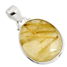 925 sterling silver 22.90cts natural golden rutile pendant jewelry p92156
