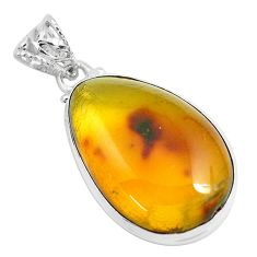 925 sterling silver 15.53cts natural green amber from colombia pendant p46904