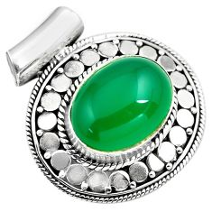 925 sterling silver 10.44cts natural green chalcedony oval pendant p86665