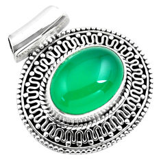 925 sterling silver 10.86cts natural green chalcedony oval pendant p86674