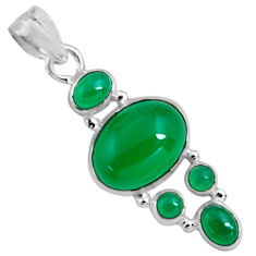 925 sterling silver 15.16cts natural green chalcedony oval pendant p89230