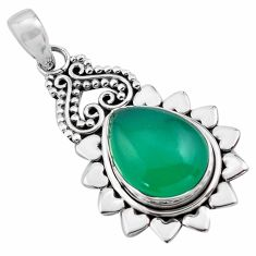 925 sterling silver 10.70cts natural green chalcedony pendant jewelry p84746