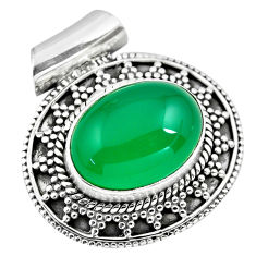 925 sterling silver 10.86cts natural green chalcedony pendant jewelry p86671