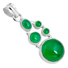 925 sterling silver 16.46cts natural green chalcedony pendant jewelry p89224
