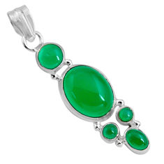 925 sterling silver 15.47cts natural green chalcedony pendant jewelry p89227