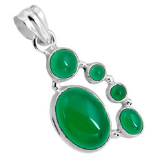 925 sterling silver 15.16cts natural green chalcedony pendant jewelry p89234