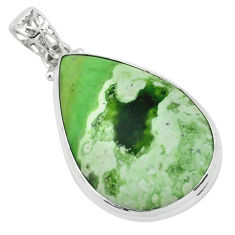 925 sterling silver 19.60cts natural green chrome chalcedony pear pendant p66140