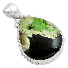 925 sterling silver 17.57cts natural green chrome chalcedony pear pendant p85458