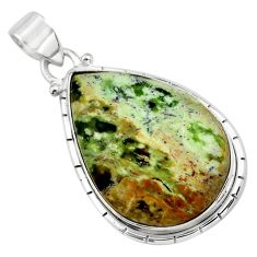 925 sterling silver 19.68cts natural green chrome chalcedony pear pendant p85463