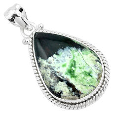 925 sterling silver 17.22cts natural green chrome chalcedony pendant p40688