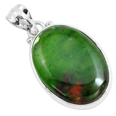 925 sterling silver 14.72cts natural green chrome chalcedony pendant p40698