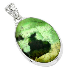 925 sterling silver 17.57cts natural green chrome chalcedony pendant p66131