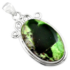 925 sterling silver 23.46cts natural green chrome chalcedony pendant p85469