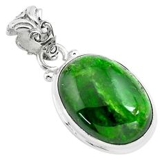 925 sterling silver 13.70cts natural green chrome diopside fancy pendant p71967