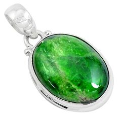 Clearance Sale- 925 sterling silver 16.20cts natural green chrome diopside oval pendant d31053