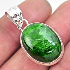 925 sterling silver 17.22cts natural green chrome diopside oval pendant p57979