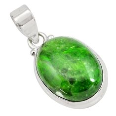 925 sterling silver 16.57cts natural green chrome diopside oval pendant p65804