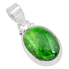 925 sterling silver 12.65cts natural green chrome diopside oval pendant p65816