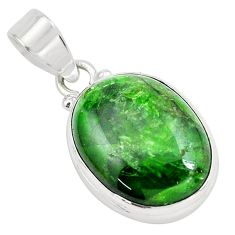 925 sterling silver 15.60cts natural green chrome diopside oval pendant p65819
