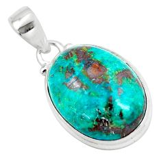 925 sterling silver 13.70cts natural green chrysocolla oval pendant p57984