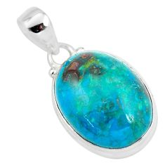 925 sterling silver 14.72cts natural green chrysocolla oval pendant p57994