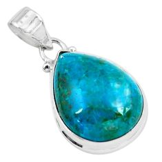 925 sterling silver 15.08cts natural green chrysocolla pear pendant p49071