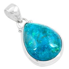 925 sterling silver 14.23cts natural green chrysocolla pendant jewelry p49064
