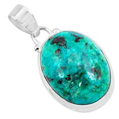 925 sterling silver 13.22cts natural green chrysocolla pendant jewelry p49091